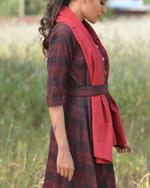 Sugandh Black & Red Checked Dress with Belt & Scarf (wos-622)
