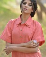 Sugandh Peach Pleated Checked Shirt Dress (wos-623)