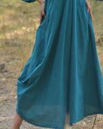 Sugandh Teal Blue Striped Tiffany Cowl Dress (wos-626)