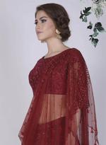 Mandira Wirk Maroon Embroidered Lehenga Set (MW/FW-A003)