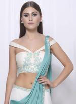 Mandira Wirk White & Blue Lehenga Set (MW/FW-A016)