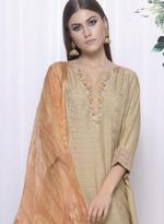 Mandira Wirk Beige & Orange Asymmetric Palazzo Set with Dupatta (MW/FW-A021)