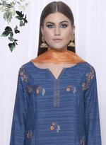 Mandira Wirk Blue & Gold Kurta with Palazzos & Dupatta (MW/FW-AO31)