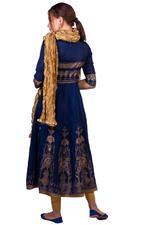 Imara Blue & Gold Printed Anarkali Set (A18INDCKD392)