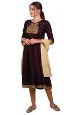 Imara Brown & Cream-Colored Anarkali Set (A18PARCKD162A)