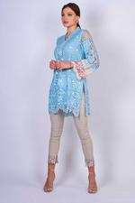 Agha Noor Light Blue Crochet Lace Kurta (AN-20)