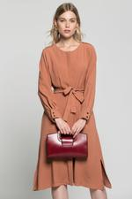 OwnTheLooks Rust Brown Belted Dress (826B)