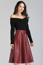 OwnTheLooks Black and Maroon Faux Leather Skirt Midi Dress