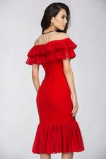 OwnTheLooks Red Ruffle Trumpet Dress (413A)