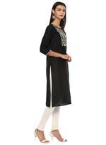 Imara Black & White Embroidered Kurta Set  (A18LINCKD121B)