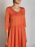 Abhishti Rust Orange Flared Kurta (ABI-1444)