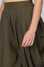 Abhishti Beige & Olive Green Printed Peplum Top & Dhoti Pants Set (ABI-ST283)
