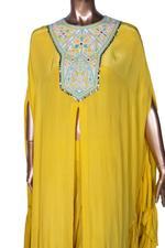 Arpita Mehta Yellow Embroidered & Ruffled Front Slit Kaftan & Palazzo Set (AMV19AMF3861) by Vesimi