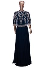 Aneesh Agarwaal Blue Embroidered Cape Gown (AVS-120) by Vesimi