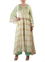 Latha Puttanna Off-White & Mint Green Kurta with Pants & Dupatta