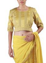 Latha Puttanna Yellow & Gold Half & Half Saree with Stitched Blouse