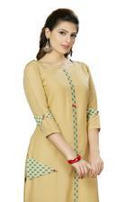 Suumaya Khaki Brown Cut & Sew Printed Kurta (I-5201)