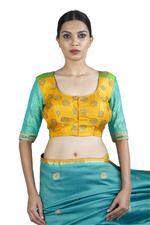 Latha Puttanna Blue Handpainted Saree with Stitched Blouse (LP-Sb-05)