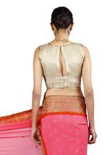 Latha Puttanna Pink & Gold Half & Half Georgette Saree with Stitched Blouse (LP-Sb-18)