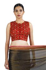 Latha Puttanna Black & Red Banarasi Tissue Saree with Stitched Blouse (LP-Sb-29)