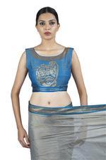 Latha Puttanna Grey & Blue Banarasi Tissue Saree with Stitched Blouse (LP-Sb-35)