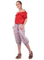 Mesmora Red Off-Shoulder Top & Purple 3/4th Pants Set (#MF2233RED)