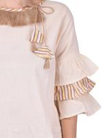 Mesmora Off-White & Yellow Top & Striped Cropped Palazzo Set (#MF2255YELLOW LINING)