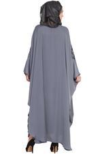 Nazneen Grey & Black Thread Embroidered Kaftan-Style Abaya (NHF291)