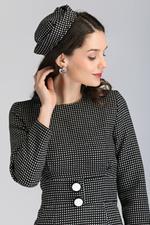 OwnTheLooks Black Parisian Polka Dot Midi Dress with Beret