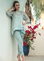 Agha Noor Powder Blue Embellished Kurti with Pants (ANSS'19-11)