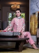 Agha Noor Pink & Blue Embroidered Kurta Set (ANSS'19-16)
