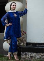Agha Noor Blue & Beige Embroidered Kurta Set (ANSS'19-18)