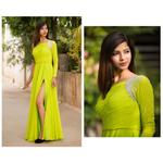 Plush Culture Lime Green evening gown with cystral embellishment on shoulder and sleeves (GN_17)