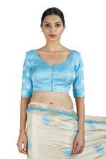 Latha Puttanna Off-White & Blue Banarasi Tissue Saree with Stitched Blouse (LP-Sb-14)