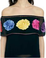 LoveGen Black Embroidered Off-Shoulder Top (T9)