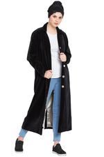 Nazneen Black Velvet Coat-Style Abaya (NHF203)