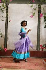 Latha Puttanna Purple & Blue Silk Tape Anarkali Set (AW19-03)