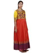 Latha Puttanna Rust Orange & Yellow Embroidered Kurta Set (AW19-16)
