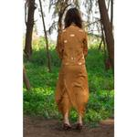 Cocktail House Brown Draped Dhoti-Style Dress with Jacket (CH0110Golden)