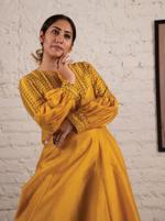 Label Sadiq Naseem Yellow Embroidered Kurta & Pants Set (CH19-05SNTYKS)