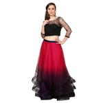 Roora By Ritam Black & Dark Pink Crop Top with Ombre Tulle Skirt (RRVK21)