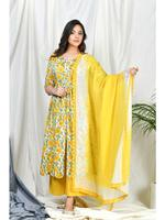 Zumaira Yellow Saba Scalloped Suit Set with block dyed dupatta  (ZU58)