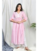Zumaira Pink Itrat Stripe set with embroidered palazzo and floral dupatta (ZU62)