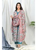 Zumaira Teal/Turquoise Yasira Coordinate  Set with Teal Block print Dupatta (ZU66)