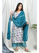 Zumaira Teal/Turquoise Raeesa Suit set with Teal Lace Dupatta (ZU68)