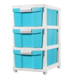 3 Tier Drawer With Wheels - Blue