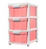 3 Tier Drawer With Wheels - Pink
