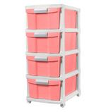4 Tier Drawer With Wheels - Pink