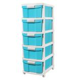 5 Tier Drawer With Wheels - Blue