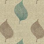 Leaf Printed Brown Aqua Swatches